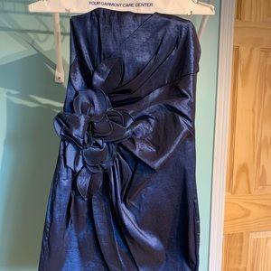 Strapless Metallic Blue Formal Dress